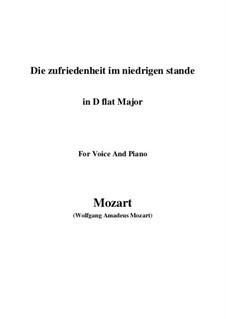 Die Zufriedenheit im niedrigen Stande, K.151: D flat Major by Wolfgang Amadeus Mozart