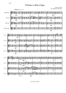 Il bianco e dolce cigno: For saxophone quartet by Jacques Arcadelt