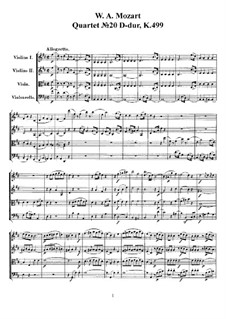 String Quartet No.20 in D Major 'Hoffmeister', K.499: Full score, parts by Wolfgang Amadeus Mozart