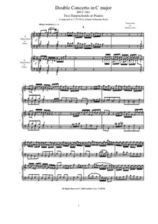 Concerto for Two Harpsichords and Strings No.2 in C Major, BWV 1061: Version for two harpsichords or pianos (score-parts) by Johann Sebastian Bach