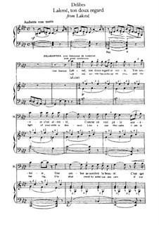 Lakmé, ton doux regard: For voice and piano by Léo Delibes