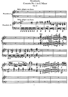 Concerto for Piano and Orchestra No.1 in G Minor, Op.25: Version for two pianos four hands by Felix Mendelssohn-Bartholdy