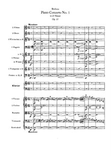 Concerto for Piano and Orchestra No.1 in D Minor, Op.15: Full score by Johannes Brahms