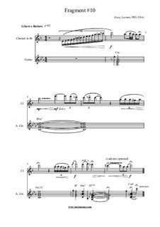 Fragment No.10: For clarinet and guitar by Luca Luciano