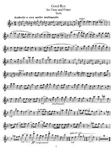Good-Bye: For flute and piano – flute part by Francesco Paolo Tosti