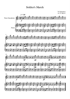 10 Easy Classical Pieces For Tenor Saxophone & Piano Vol.3: Soldier's March by Edward MacDowell, Johann Strauss (Sohn), Johannes Brahms, Georg Friedrich Händel, Felix Mendelssohn-Bartholdy, Robert Schumann, Muzio Clementi, Giuseppe Verdi, Anton Rubinstein, Johan Halvorsen