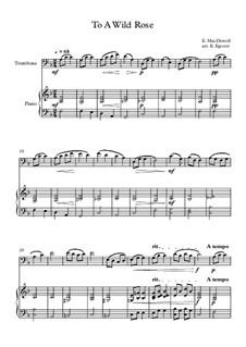 10 Easy Classical Pieces For Trombone & Piano Vol.3: To A Wild Rose by Edward MacDowell, Johann Strauss (Sohn), Johannes Brahms, Georg Friedrich Händel, Felix Mendelssohn-Bartholdy, Robert Schumann, Muzio Clementi, Giuseppe Verdi, Anton Rubinstein, Johan Halvorsen