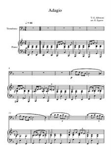 10 Easy Classical Pieces For Trombone & Piano Vol.4: Adagio (In G Minor) by Johann Sebastian Bach, Tomaso Albinoni, Joseph Haydn, Wolfgang Amadeus Mozart, Franz Schubert, Jacques Offenbach, Richard Wagner, Giacomo Puccini, folklore