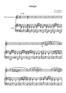 10 Easy Classical Pieces For Tenor Saxophone & Piano Vol.4: Adagio (In G Minor) by Johann Sebastian Bach, Tomaso Albinoni, Joseph Haydn, Wolfgang Amadeus Mozart, Franz Schubert, Jacques Offenbach, Richard Wagner, Giacomo Puccini, folklore