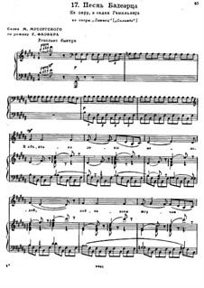 Salammbô (The Libyan): Song of the Balearic Islander for voice and piano by Modest Mussorgsky