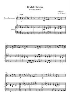 10 Easy Classical Pieces For Tenor Saxophone & Piano Vol.4: Bridal Chorus (Wedding March) by Johann Sebastian Bach, Tomaso Albinoni, Joseph Haydn, Wolfgang Amadeus Mozart, Franz Schubert, Jacques Offenbach, Richard Wagner, Giacomo Puccini, folklore