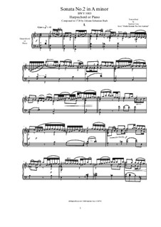 Sonata for Violin No.2 in A Minor, BWV 1003: Arrangement for harpsichord or piano by Johann Sebastian Bach
