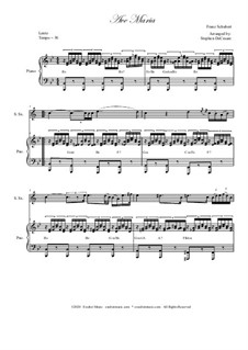 Ave Maria, for Two Instruments, D.839 Op.52 No.6: For soprano saxophone - piano accompaniment by Franz Schubert