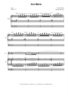 Ave Maria, for Two Instruments, D.839 Op.52 No.6: For tenor saxophone solo - organ accompaniment by Franz Schubert
