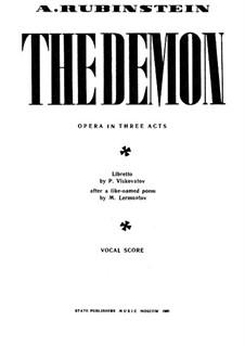 The Demon: Piano-vocal score by Anton Rubinstein