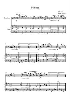 10 Easy Classical Pieces For Trombone & Piano Vol.4: Minuet (In D Minor) by Johann Sebastian Bach, Tomaso Albinoni, Joseph Haydn, Wolfgang Amadeus Mozart, Franz Schubert, Jacques Offenbach, Richard Wagner, Giacomo Puccini, folklore