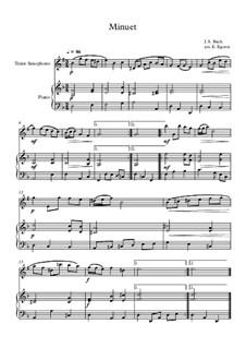 10 Easy Classical Pieces For Tenor Saxophone & Piano Vol.4: Minuet (In D Minor) by Johann Sebastian Bach, Tomaso Albinoni, Joseph Haydn, Wolfgang Amadeus Mozart, Franz Schubert, Jacques Offenbach, Richard Wagner, Giacomo Puccini, folklore