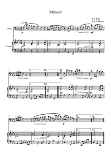 10 Easy Classical Pieces For Cello & Piano Vol.4: Minuet (In D Minor) by Johann Sebastian Bach, Tomaso Albinoni, Joseph Haydn, Wolfgang Amadeus Mozart, Franz Schubert, Jacques Offenbach, Richard Wagner, Giacomo Puccini, folklore