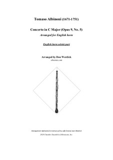 Concerto No.5 in C Major: For english horn and string orchestra – solo part by Tomaso Albinoni