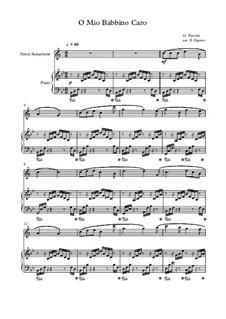10 Easy Classical Pieces For Tenor Saxophone & Piano Vol.4: O Mio Babbino Caro by Johann Sebastian Bach, Tomaso Albinoni, Joseph Haydn, Wolfgang Amadeus Mozart, Franz Schubert, Jacques Offenbach, Richard Wagner, Giacomo Puccini, folklore