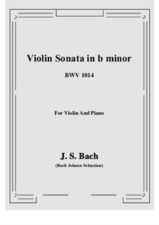 Sonata for Violin and Harpsichord No.1 in B Minor, BWV 1014: Arrangement for violin and piano by Johann Sebastian Bach