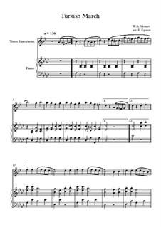 10 Easy Classical Pieces For Tenor Saxophone & Piano Vol.4: Turkish March by Johann Sebastian Bach, Tomaso Albinoni, Joseph Haydn, Wolfgang Amadeus Mozart, Franz Schubert, Jacques Offenbach, Richard Wagner, Giacomo Puccini, folklore