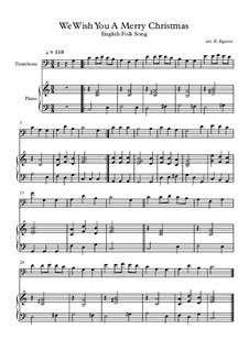 10 Easy Classical Pieces For Trombone & Piano Vol.4: We Wish You A Merry Christmas by Johann Sebastian Bach, Tomaso Albinoni, Joseph Haydn, Wolfgang Amadeus Mozart, Franz Schubert, Jacques Offenbach, Richard Wagner, Giacomo Puccini, folklore