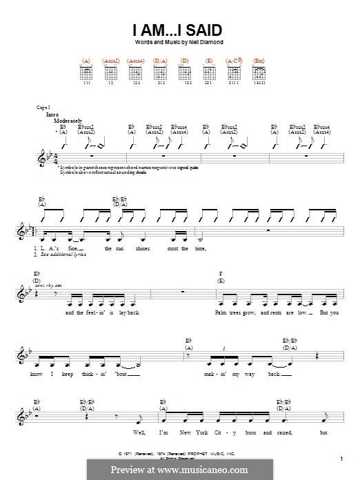 I Am...I Said: For guitar with tab by Neil Diamond