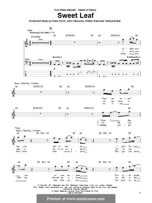 Sweet Leaf (Black Sabbath): For bass guitar with tab by Geezer Butler, Ozzy Osbourne, Tony Iommi, Bill Ward