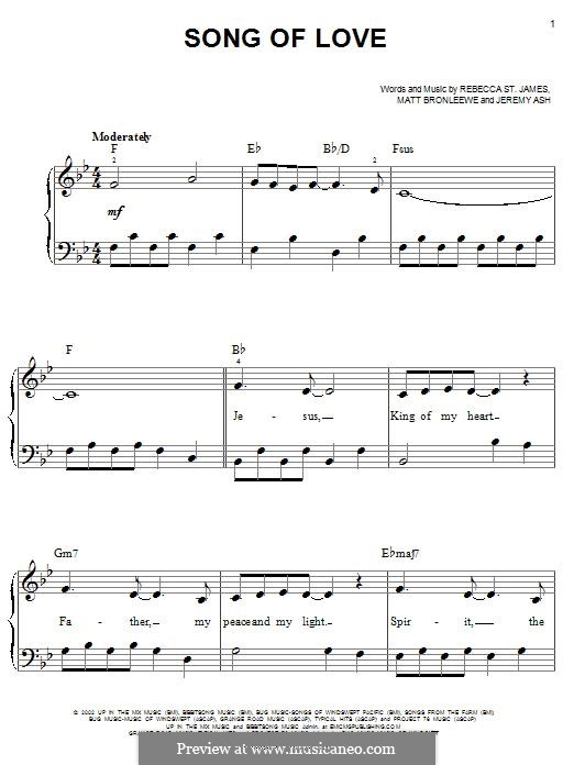 Song of Love: For easy piano by Jeremy Ash, Matt Bronleewe