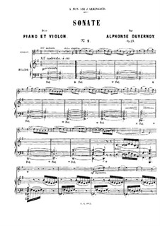 Sonata for Violin and Piano No.1 in G Major, Op.23: Score by Victor Alphonse Duvernoy