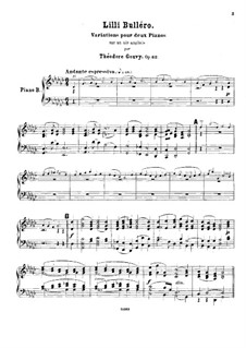 Lilli Bulléro. Variations for Two Pianos Four Hands, Op.62: Piano II part by Louis Théodore Gouvy