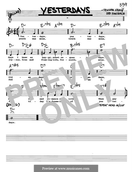 Yesterdays: Melody line by Jerome Kern