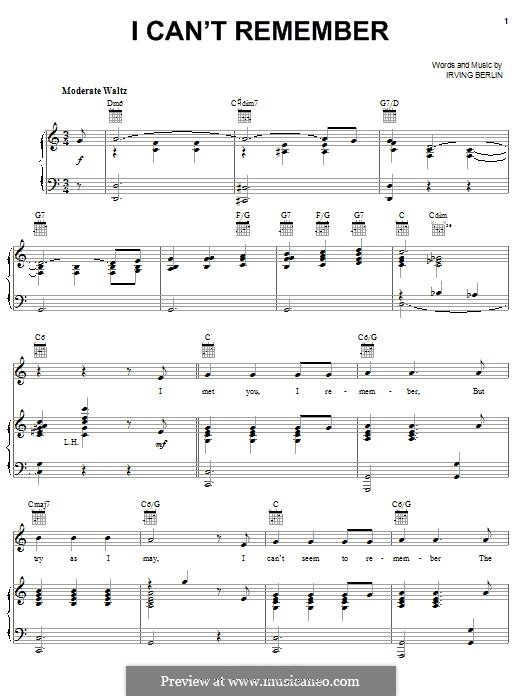 I Can't Remember: I Can't Remember by Irving Berlin