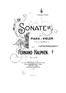 Sonata for Violin and Piano in C Sharp Minor: Score by Fernand Halphen