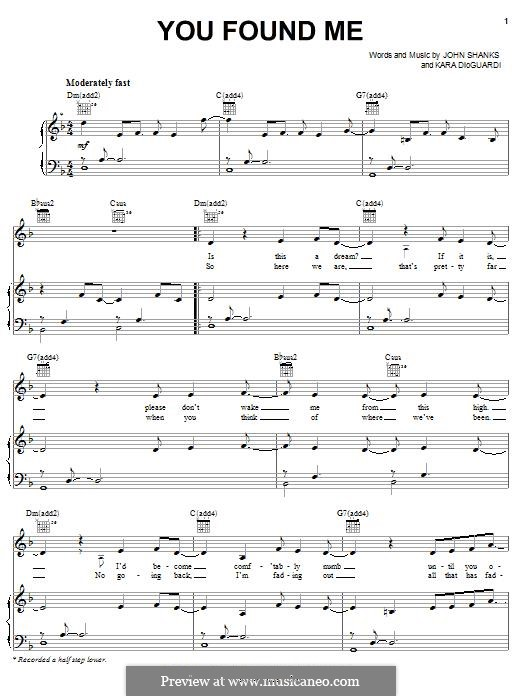 You Found Me (Kelly Clarkson): For voice and piano (or guitar) by John M Shanks, Kara DioGuardi
