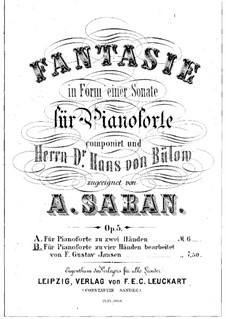 Fantasia in Sonata Form, Op.5: For piano four hands by August Saran