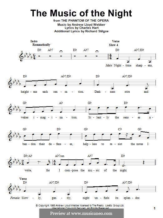 The Music of the Night, instrumental version: Melody line by Andrew Lloyd Webber