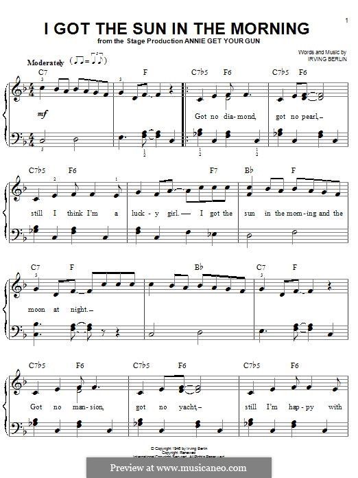 I Got the Sun in the Morning: For piano by Irving Berlin