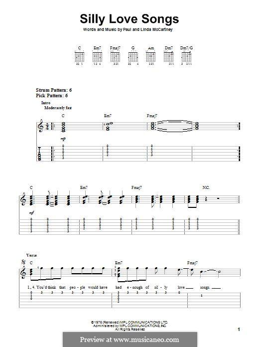 Silly Love Songs (Wings): For guitar by Linda McCartney, Paul McCartney