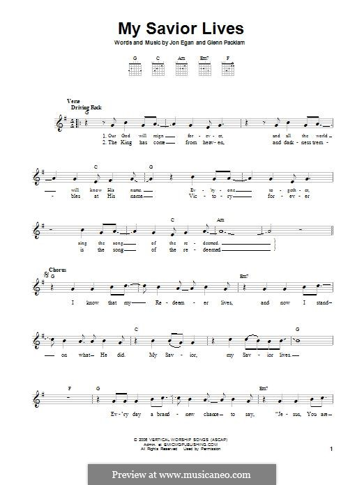 My Savior Lives (Desperation Band): For guitar by Glenn Packiam, Jon Egan