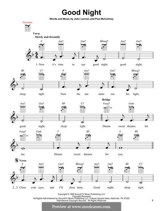 Good Night (The Beatles): For ukulele by John Lennon, Paul McCartney