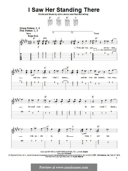 I Saw Her Standing There (The Beatles): For guitar by John Lennon, Paul McCartney