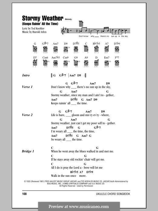 Stormy Weather (Lena Horne): For ukulele by Harold Arlen