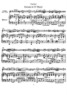 Sonata for Violin and Basso Continuo in D Major: Arrangement for violin (or viola) and piano by Pietro Nardini