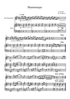 10 Easy Classical Pieces For Alto Saxophone & Piano Vol.5: Humoresque by Wolfgang Amadeus Mozart, Franz Schubert, Antonín Dvořák, Georges Bizet, Georg Friedrich Händel, Giuseppe Verdi, Pyotr Tchaikovsky, Émile Waldteufel, Adolphe Adam, Sebastián Yradier