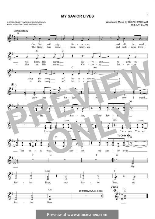 My Savior Lives (Desperation Band): For keyboard by Glenn Packiam, Jon Egan