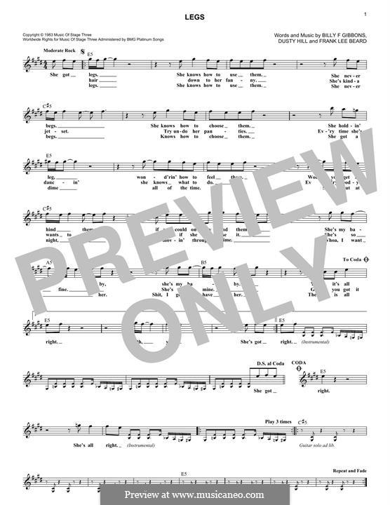 Legs (ZZ Top): For keyboard by Billy F Gibbons, Dusty Hill, Frank Lee Beard