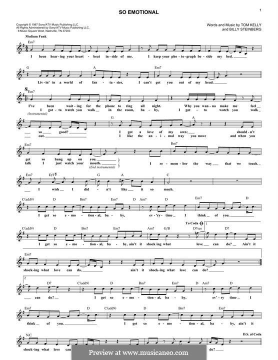 So Emotional (Whitney Houston): For keyboard by Billy Steinberg, Tom Kelly