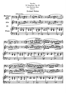 Twenty-Four Vocalises for Alto, Baritone and Bass, Op.81: For alto, baritone and bass. Book II by Heinrich Panofka